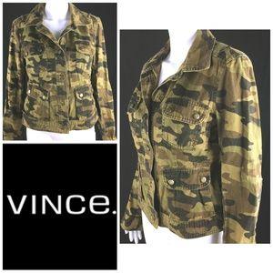 vince. Sz 10 Jean Jacket Camouflage Denim